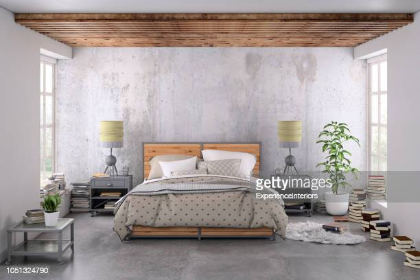 modern bedroom interior with blank wall for copy space - loft stock photos and pictures