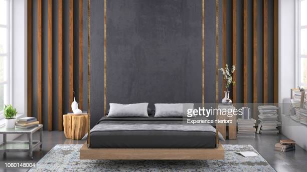 modern bedroom interior with blank wall for copy space - camera da letto foto e immagini stock