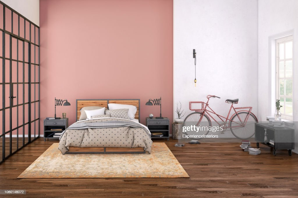 Interior moderno dormitorio con pared en blanco para el espacio de copia : Foto de stock