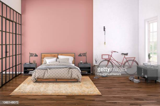 modern bedroom interior with blank wall for copy space - domestic room stock pictures, royalty-free photos & images