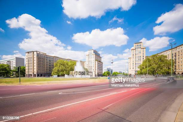 modern berlin city skyline in summer with traffic - friedrichshain stock photos and pictures