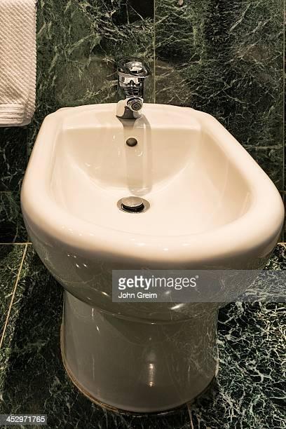 Modern bidet in the bathroom of a hotel.
