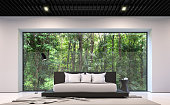 Modern black and white bedroom with forest view 3d rendering image