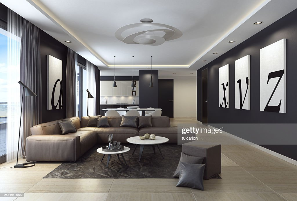 Modern Black Luxury Style Apartment With Leather Sofa High ...
