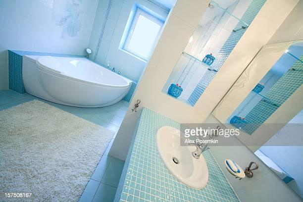modern blue luxury bathroom.