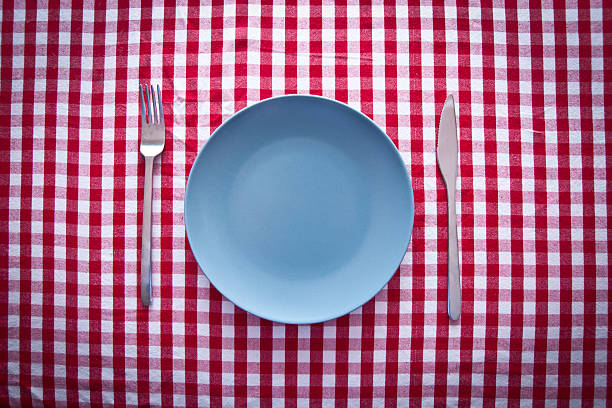 modern blue plate on red checkered tablecloth