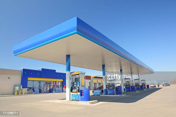 modern blue service station - convenience store stock photos and pictures