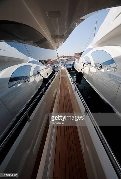 Modern boats reflection