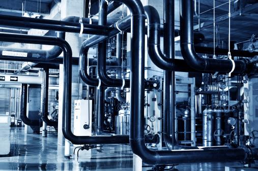 Modern boiler room equipment for heating system 469097119