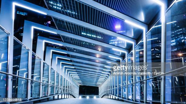 modern bridge at night - ceiling stock pictures, royalty-free photos & images