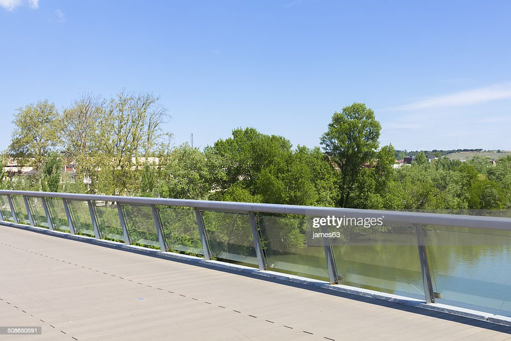 Modern bridge of Santa Teresa, on the Rio Pisuerga Valladolid : Stock Photo