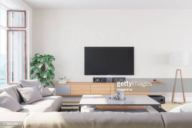 modern, bright and airy living room - domestic room stock pictures, royalty-free photos & images