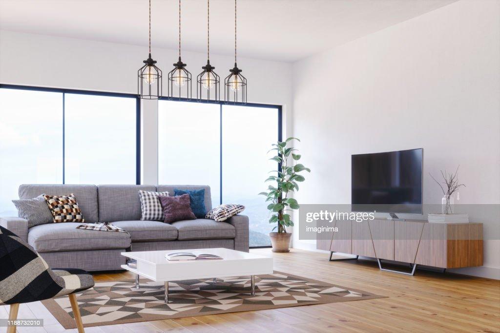 Moderne, lichte en luchtige Scandinavische design woonkamer : Stockfoto