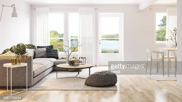 modern bright interior - modern stock pictures, royalty-free photos & images