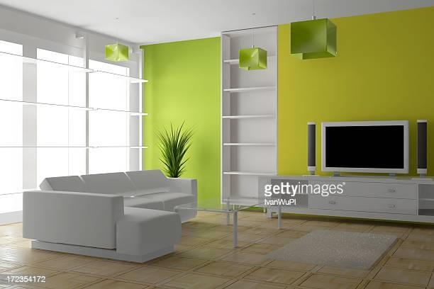 (CGI) render intérieur moderne lumineuse