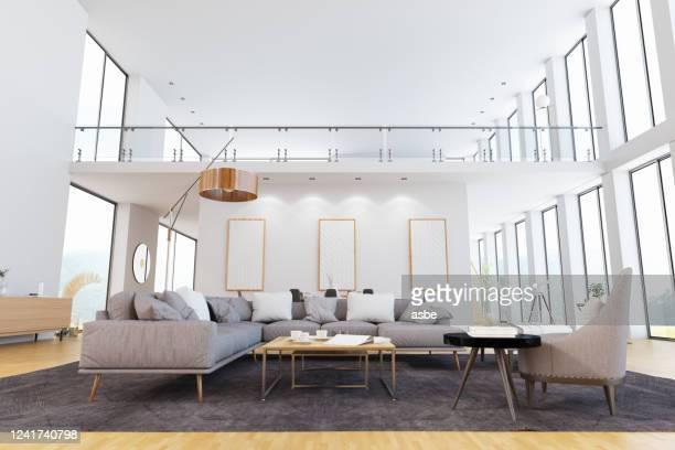 salon lumineux moderne avec mezzanine - mezzanine photos et images de collection