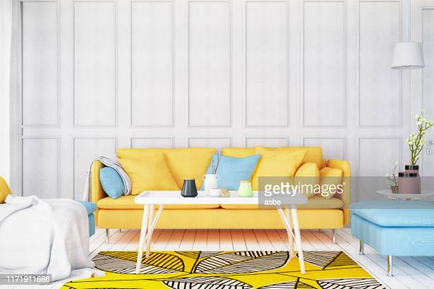 modern bright living room with sofa - yellow stock pictures, royalty-free photos & images