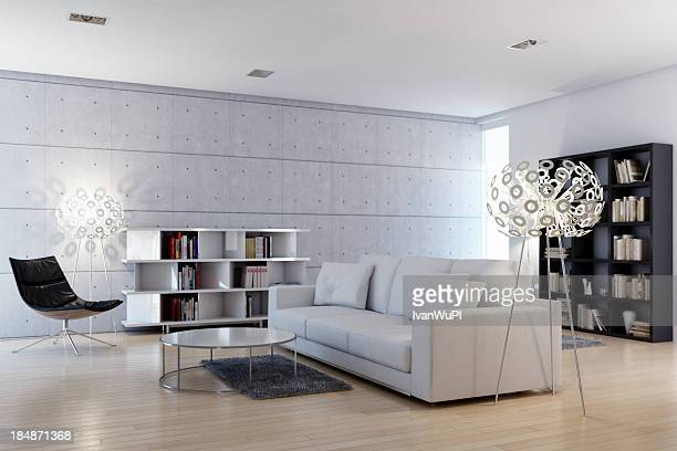 modern bright livingroom - penthouse stock pictures, royalty-free photos & images