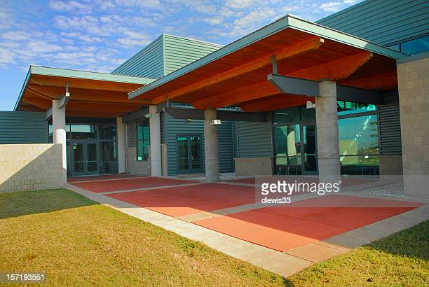 modern building entry - community centre stock pictures, royalty-free photos & images