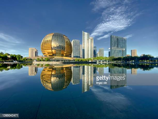 modern building facade of a commercial district in hangzhou, china - hangzhou stock pictures, royalty-free photos & images