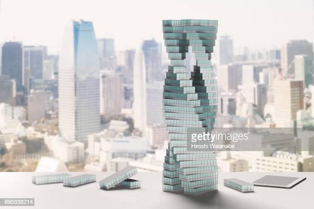 Modern building made of blocks shaped like office buildings