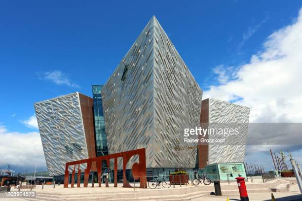 "modern building ""titanic belfast"" with metallic facades in the titanic quarter - rainer grosskopf stock pictures, royalty-free photos & images"