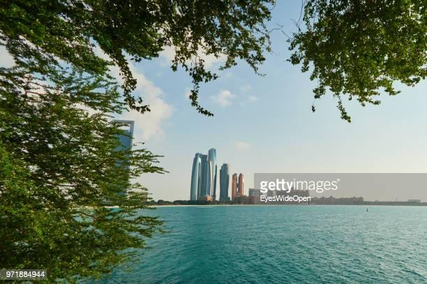 Modern buildings and skyscrapers and the Arabic Sea at Saadiyat Island on November 27 2015 in Abu Dhabi Emirate Abu Dhabi