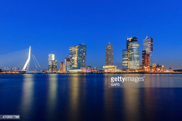 modern buildings at rotterdam's kop van zuid - meuse river stock photos and pictures