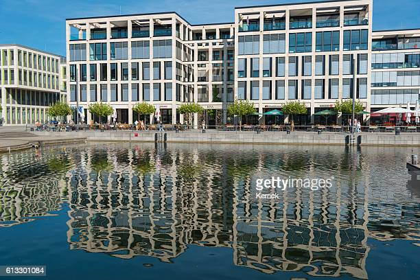 modern buildings at the phoenix-lake in dortmund (nordrhein westfalen) germany - phoenix bird stock pictures, royalty-free photos & images