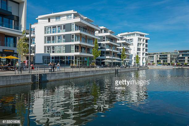 modern buildings at the phoenix-lake in dortmund (nordrhein westfalen) germany - dortmund city stock pictures, royalty-free photos & images