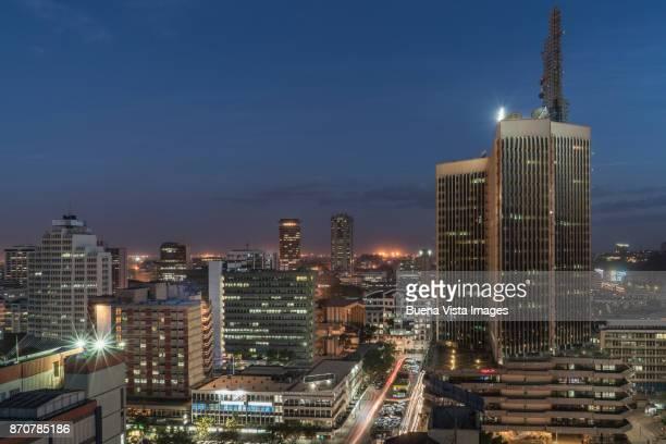 modern buildings downtown nairobi. - nairobi stock pictures, royalty-free photos & images