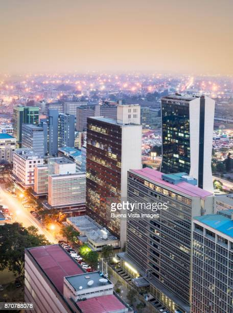 modern buildings downtown nairobi. - nairobi stock pictures, royalty-free photos & images