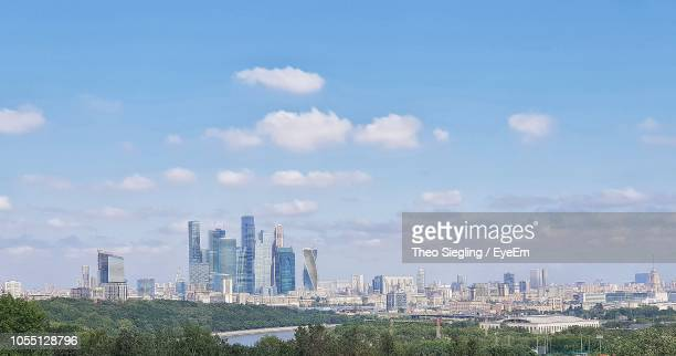 modern buildings in city against sky - moscow skyline stock pictures, royalty-free photos & images