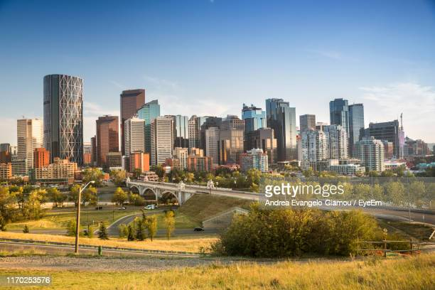modern buildings in city against sky - calgary stock pictures, royalty-free photos & images