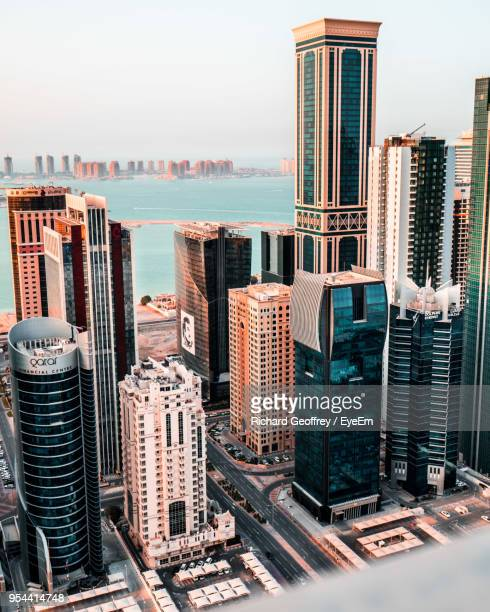 modern buildings in city against sky - gulf countries stock pictures, royalty-free photos & images