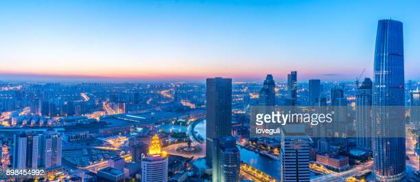 modern buildings in midtown of modern city. - tianjin stock pictures, royalty-free photos & images