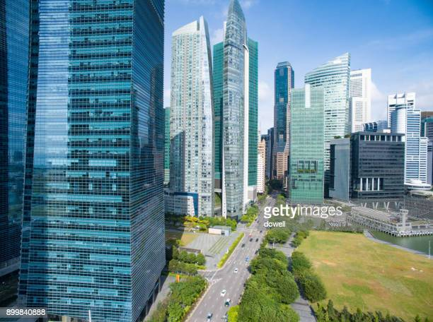 modern buildings in midtown of modern city - singapore cbd stock pictures, royalty-free photos & images