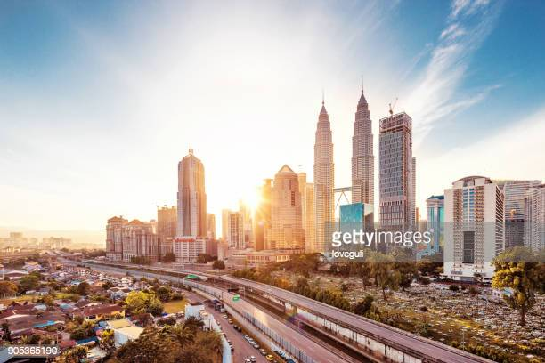 modern buildings in midtown of modern city - malaysia stock pictures, royalty-free photos & images