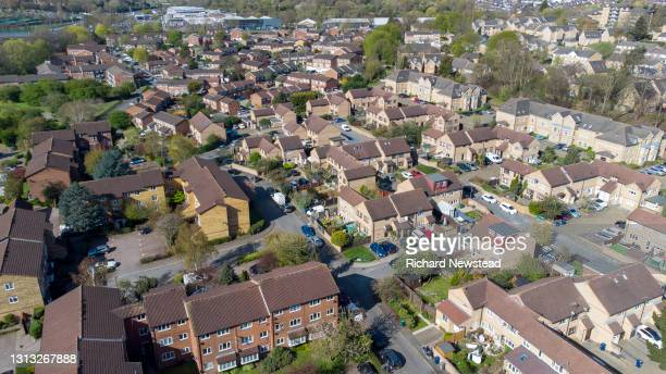 modern built homes - overhead view stock pictures, royalty-free photos & images