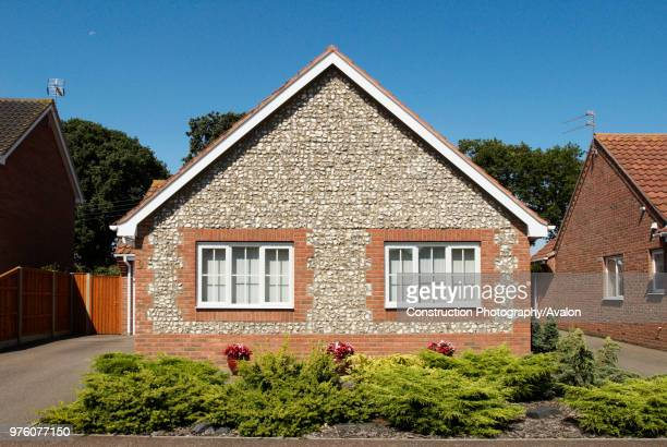 Modern bungalow built with traditional Norfolk pebble exterior, Great Yarmouth, Norfolk, UK.