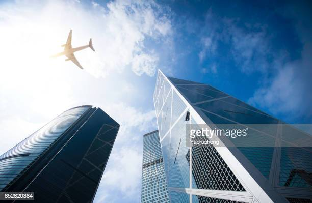 Modern business buildings with blue sky at Hong Kong