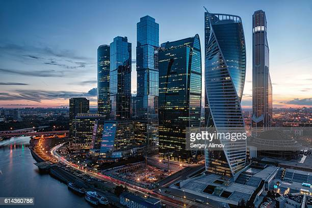 modern business center in moscow - moscow russia stock pictures, royalty-free photos & images