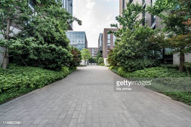 modern business office building exterior - nanjing road stockfoto's en -beelden