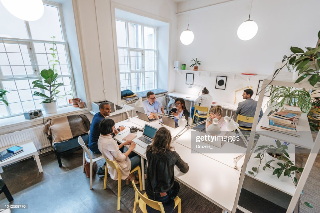 Modern business office with multi-ethnic team : Stock Photo