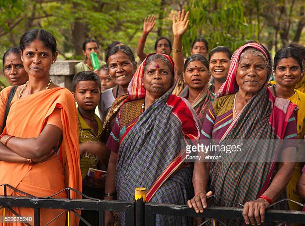 Modern but traditionally dresssed Indian Women gather to celebrate International Women's Day, Bangalore