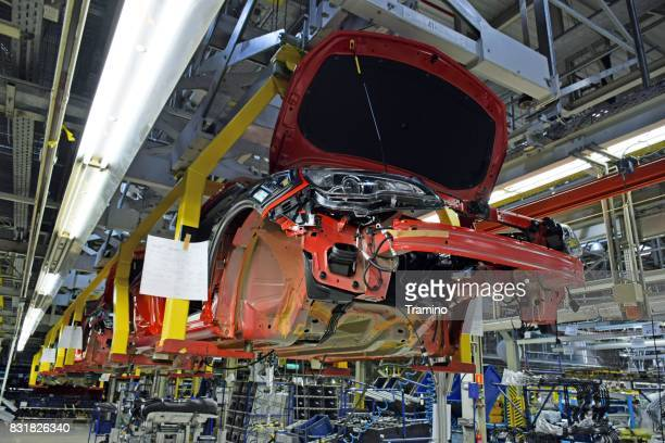 modern car assembly plant - psa stock photos and pictures