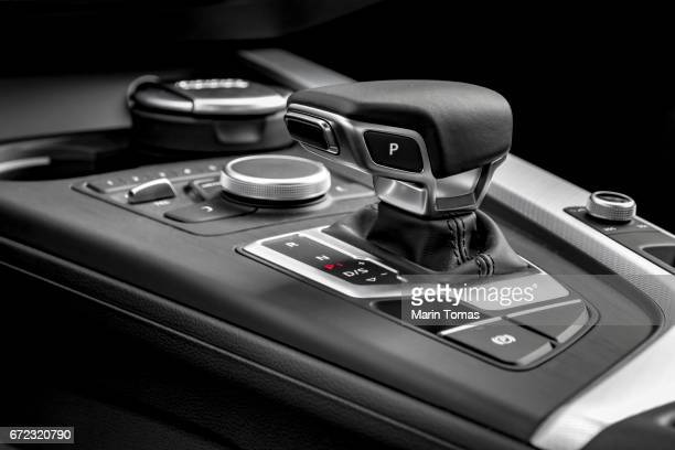 modern car gearbox lever - gearshift stock photos and pictures