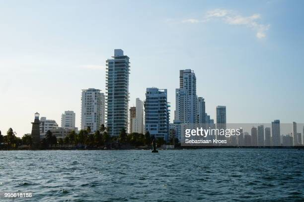Modern Cartagena and lighthouse, Skyscrapers, Colombia