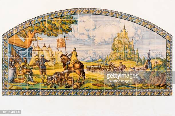 Modern ceramic tile painting of the siege of Segovia at the time of the Revolt of the Comuneros 1520-1521. Segovia, Segovia Province, Castile and...