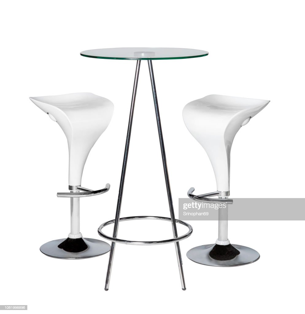 Modern Chair and Home Office Desk Decorated on White Background. Table and Modern Furniture for Office, Coffee Shop, Beauty Salon, Home Kitchen, Design Stage : Stock-Foto